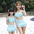 new 2016 parent-child fashion lace bikini swimsuit fission skirt sweet mother and daughter swimsuit