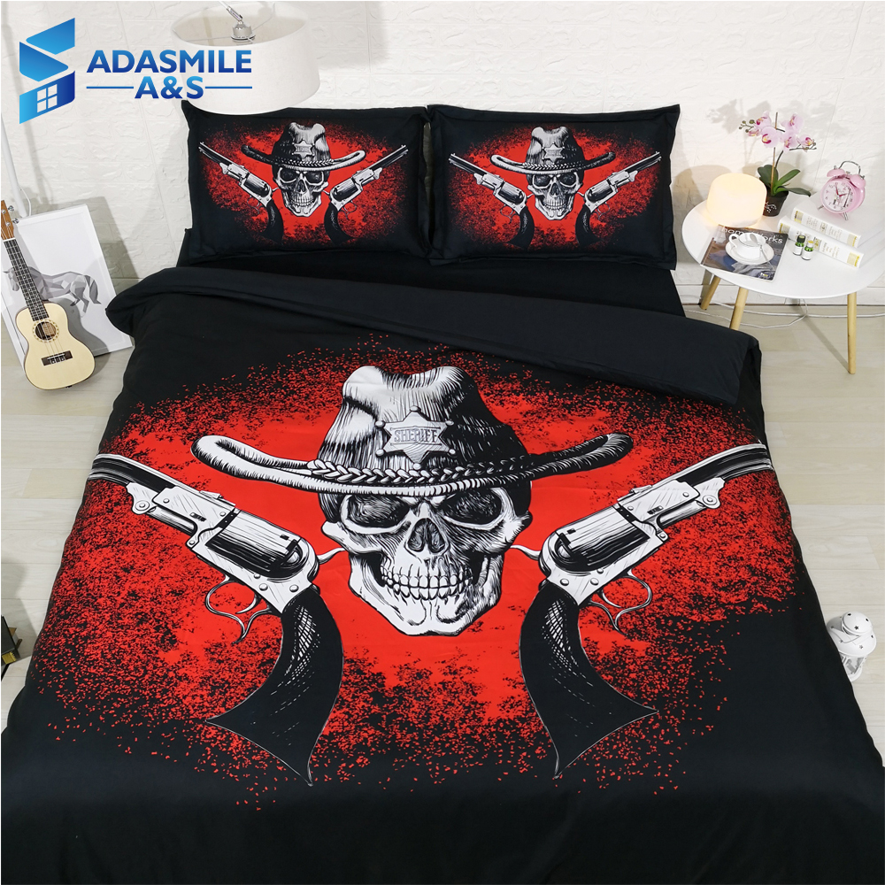Halloween Terror Skull Gun Printed Bedding Linens Soft Comfortable Boys Bed Room Pillowcases Comforter Duvet Cover Set Queen Halloween Terror Skull Gun Printed Bedding Linens Soft Comfortable Boys Bed Room Pillowcases Comforter Duvet Cover Set Queen