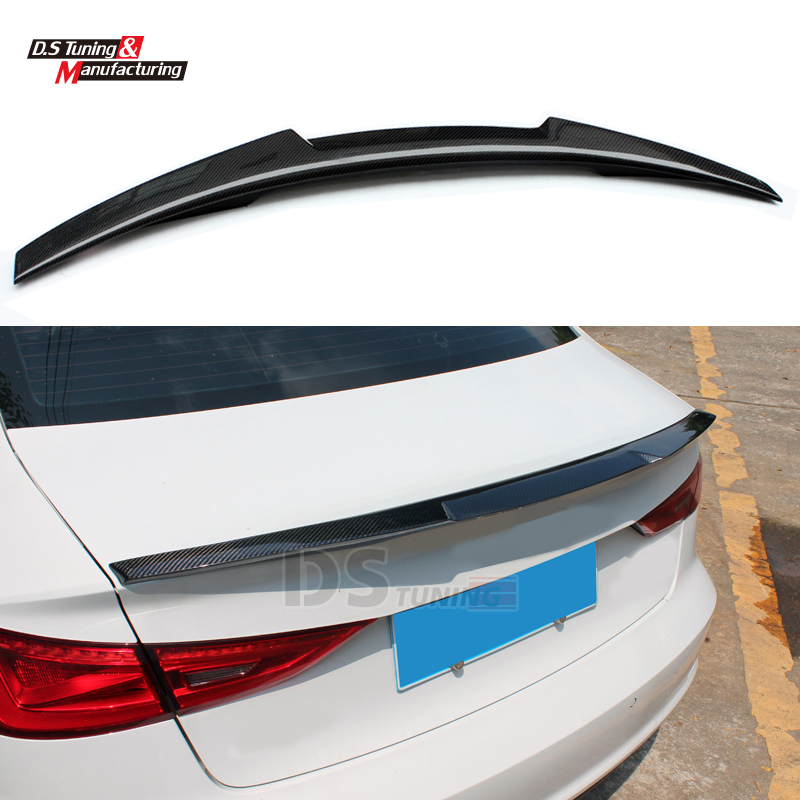 Carbon Fiber A3 M4 Style Rear Trunk Spoiler Wing For Audi A3 2013 - IN 4-door Saloon Vehicle for mercedes w205 spoiler c class w205 c180 c200 c220 c250 c300 carbon fiber rear spoiler trunk wing 2014 2015 2016 c74 style