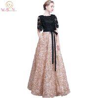 Walk Beside You Lace Evening Dresses Black Gold Contrast Color Long Elegant Vestidos Longos Formal Short