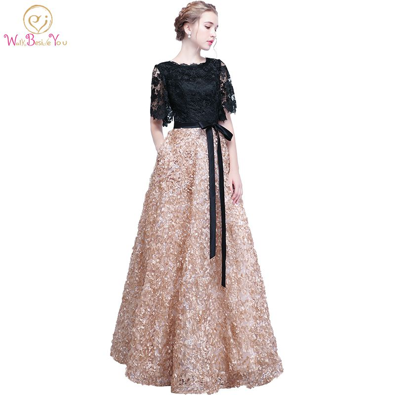 Walk Beside You Lace   Evening     Dresses   Black Gold Contrast Color Long Elegant Vestidos Longos Formal Short Sleeves Prom Gowns