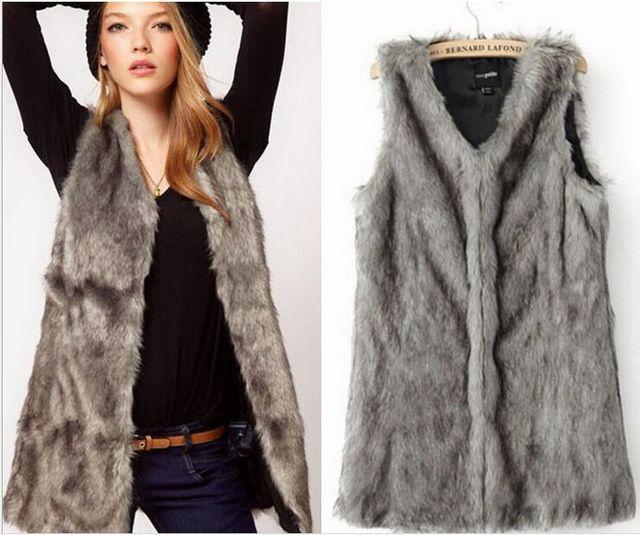 Otoño e invierno femeninos de Alta imitación de piel de zorro chaleco mujeres chaleco sin mangas de prendas de vestir exteriores más tamaño chaleco de piel de las mujeres abrigo Largo chaleco