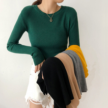 2018 New Women's Sweater Pullover Basic Rib Knitted Cotton Tops Solid O-Neck Essential Jumper Autumn Winter Long Sleeve Sweaters
