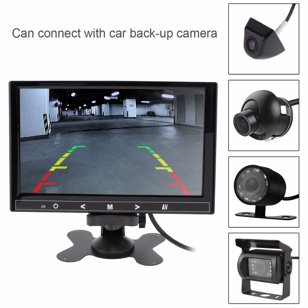9 Inch 12V / 24V 800 x 480 Color Car RGB Digital Display 2 Video Input Rear View VCR Monitor Built-in Speakers with Touch Button buy monitor with speakers
