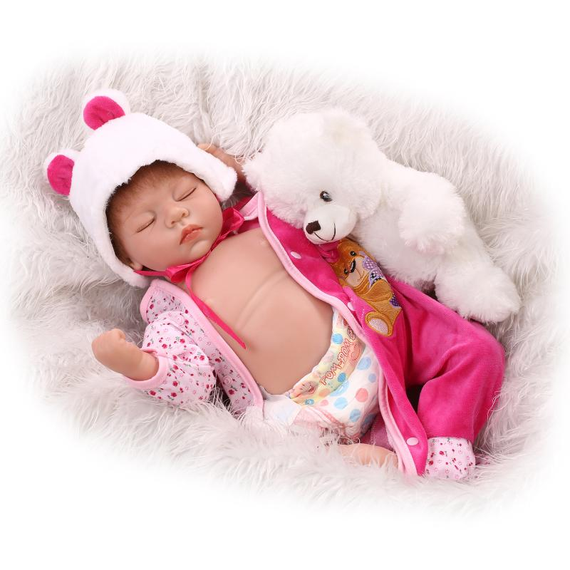 55cm Full Vinyl Body Doll Sleeping Doll Kids Toys Girl Boy Accompany Toys Birthday Gifts Reborn Babe Bouquets Doll Reborn