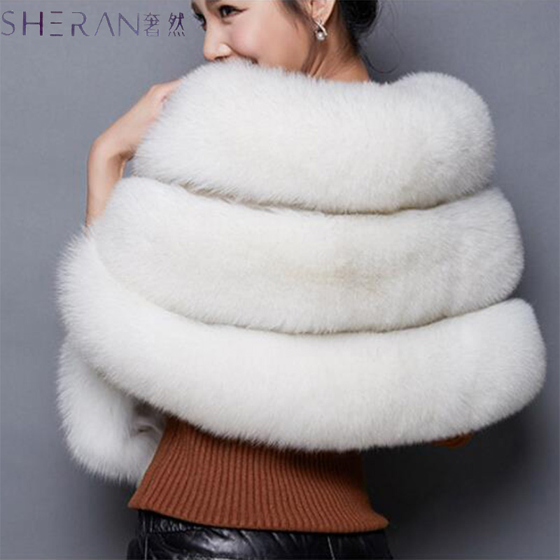 2018 Winter Faux Fur Coats Leather grass fox fur imitation mink fur poncho bridal wedding dress shawl cape women vest fur coat