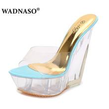 цены на WADNASO Summer thick-soled high-heeled Slippers Transparent Crystal Shoes Waterproof Platform 15CM Wedge Shoes pink gold sky  в интернет-магазинах