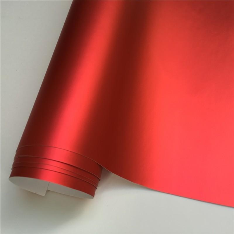14 цветов, красный, синий, золотой, зеленый, фиолетовый матовый атлас, хром, виниловая пленка, наклейка, без пузырей, автомобильная пленка - Название цвета: Red