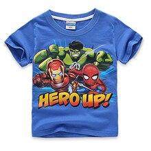 short sleeve children t shirts, boys girls t shirt kids wear avengers2 ultron blue clothes hulk iron man thor captain American