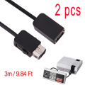 2pcs 3M/9.84FT Extension Cable Metal part Nickel plating Cord For new Nintendo Classic Mini NES Controller for Wii Controller