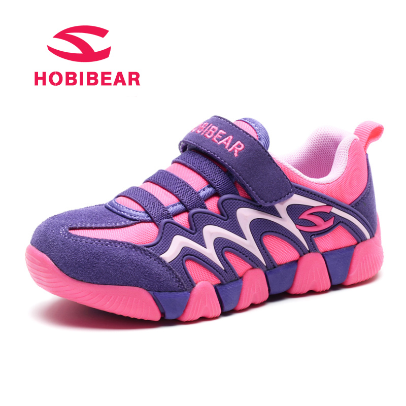 HOBIBEAR Genuine Leather Students School Kids Sport Shoes Children Sneakers Breathable New Outdoor Boys Sneaker For Girls Shoes