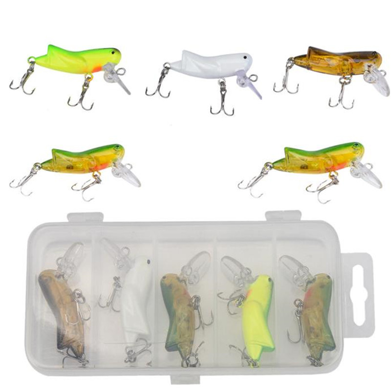 Lures 5pc boxed new road sub-bait bionic cricket series four-color double hook hooks ins ...