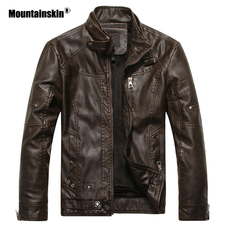 Mountainskin New Men's Leather Jackets Motorcycle PU Jacket Male Autumn Casual Leather Coats Slim Fit Mens Brand Clothing SA562