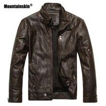 Мужская кожаная куртка Mountainskin, черная Повседневная приталенная куртка из искусственной кожи, мотоциклетная куртка, осень 2019