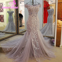 Real Photo Gray Appliques Long Evening Dresses 2017 Formal Wedding Party Dress Pearl Beading Robe De