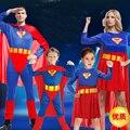 Halloween de la familia Superman Cosplay Masquerade manto los niños muestran disfraces adultos Superman ropa para los niños, hombres y mujeres