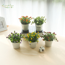 Loveplus Artifiical Flower Plant Laugh Potted Bonsai Fake Raspberry Artificial Fruit Home Table Decoration with Vase
