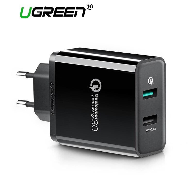 Ugreen Mobile Téléphone Chargeur 30 W USB Chargeur pour iPhone Rapide Charge 3.0 Rapide Chargeur USB Voyage Adaptateur pour Huawei Samsung LG