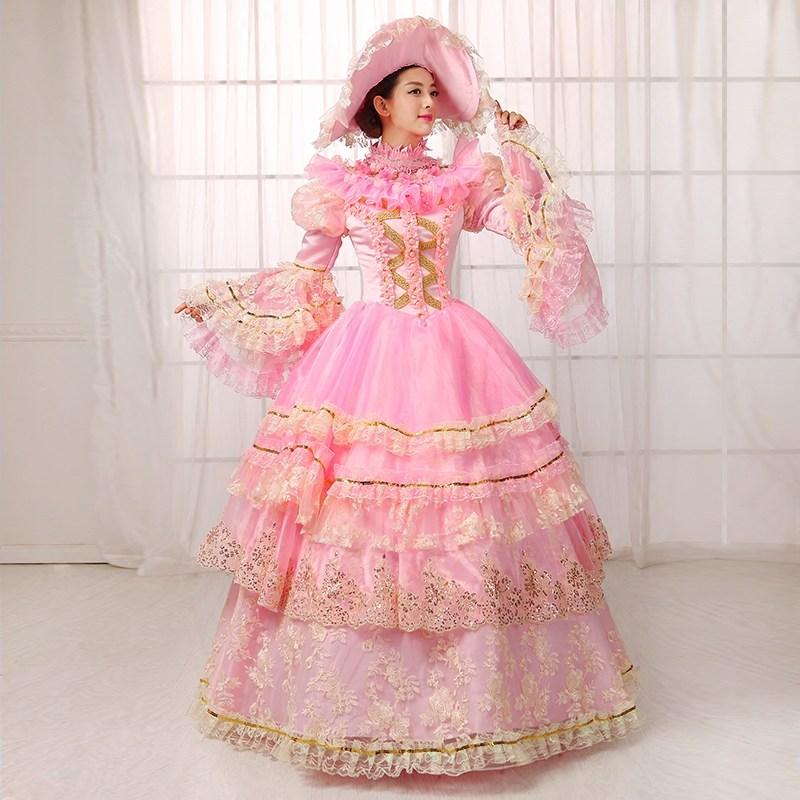 Flare Long Picture Manches Marie Bal Personnalisé Siècle D'été Robes Soirée 2018 Antoinette 18e Costumes As De Théâtre Rose Rétro 1Flc3TJK