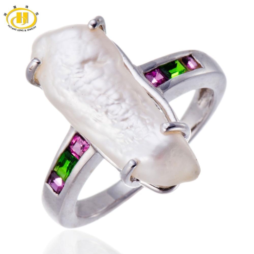 Hutang Freshwater Pearl & Color Gemstones Solid Sterling Silver Ring 925 Hallmark Fine Jewelry акриловая ванна ravak rosa ii 170x105 левая белая