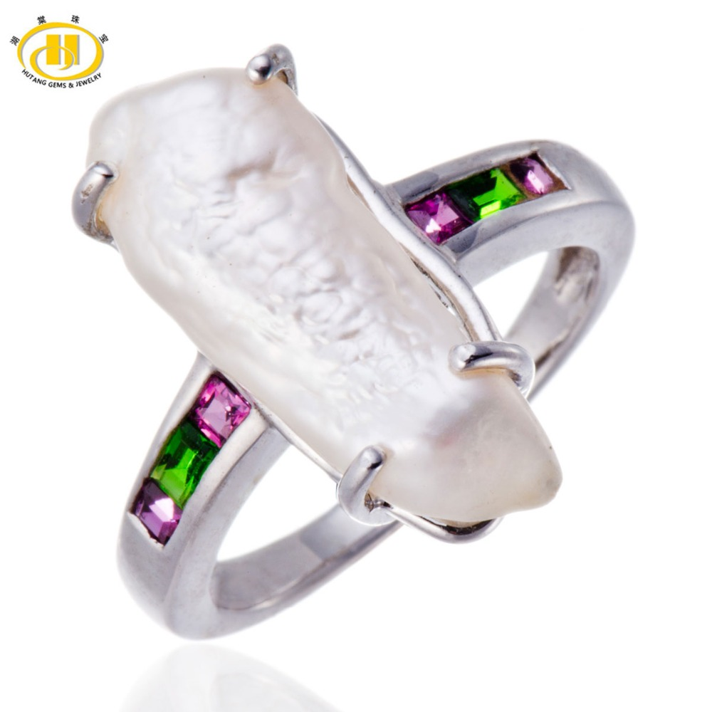 Hutang Freshwater Pearl & Color Gemstones Solid Sterling Silver Ring 925 Hallmark Fine Jewelry