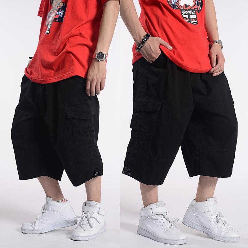 46 48 50 men cotton Calf-Length Summer Plus size 32-44 Pants male baggy hip hop Multiple pockets  Harem pants for 60-150 kg
