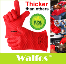 WALFOS 1pc Heat Resistant Kitchen glove Thick barbecue grilling glove Silicon BBQ Grill Oven Mitt Pot Holder Cooking glove