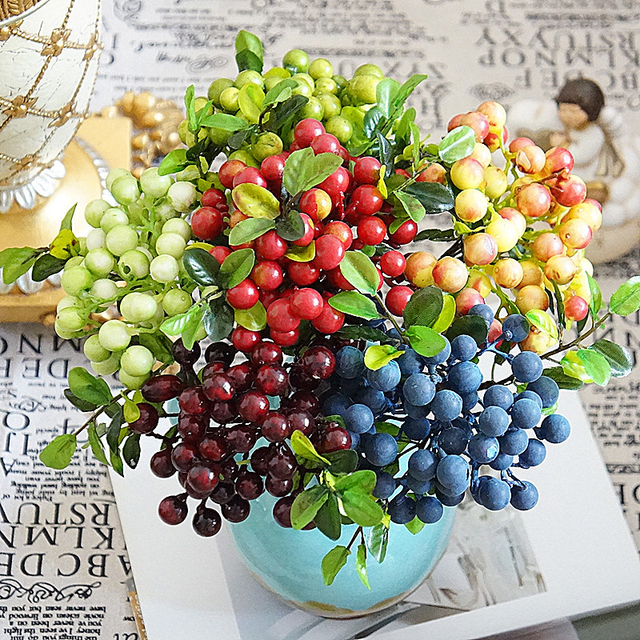 Artificial Berry Fruit Pot Plants Fake Artificial Flowers Leaves For ...