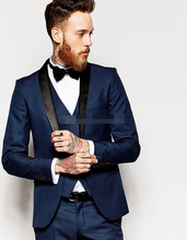 Side Vent Slim Fit Groom Tuxedos Shawl Collar Men's Suit Navy Blue Groomsman/Bridegroom Wedding/Prom Suit(Jacket+Pants+Tie+vest)