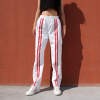 Trousers Women Vadim Sweatpants 2018 Stripe Stitching High Waist Elastic Casual Pants Female Summer Thin Straight Super Fire
