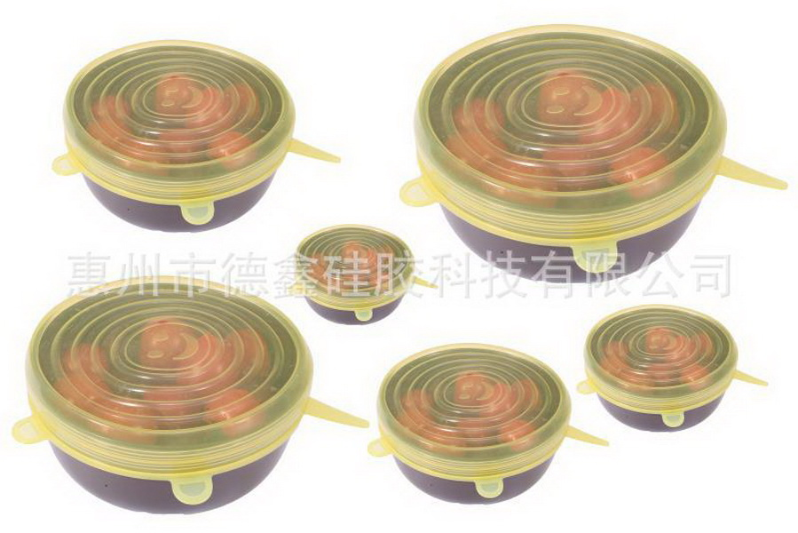 Door dhl 50 set 6 stks/set Herbruikbare Universal Siliconen Saran Wrap Cover Deksels Voedsel Kom Pot Stretch Keuken Vacuüm Seal bowls-in Wraps & Plastic Zakjes van Huis & Tuin op  Groep 1