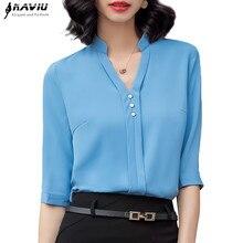 เสื้อแฟชั่นผู้หญิงครึ่งแขนลำลองElegant Vคอธุรกิจสัมภาษณ์อย่างเป็นทางการเสื้อชีฟองOffice Lady Plusขนาดเสื้อ