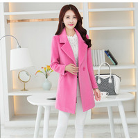 Europe In Autumn And Winter High Fashion Pink Wool Slim Long Woolen Cloth Thickened Camel Wool