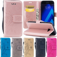 For samsung galax a5 2017 fundas Pure color embossing leather Phone bags for Coque samsung a520 a5 2017 cases flip wallet case(China)