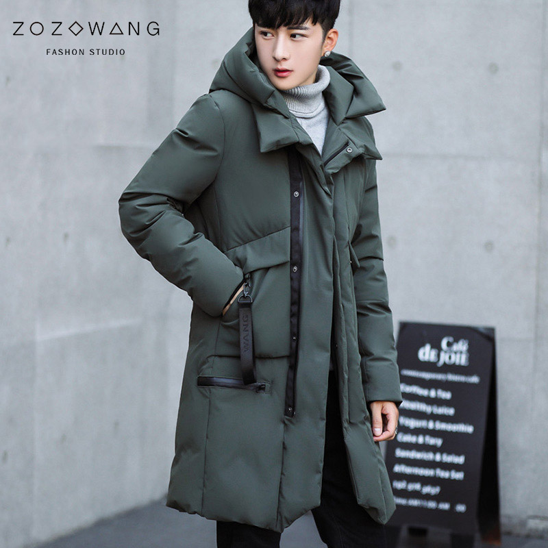 New Parka Men 2018 New Winter Men Hooded Jacket Long Jacket Slim Coat Cashmere Solid Color Parkas Cotton Youth Clothing Clothing