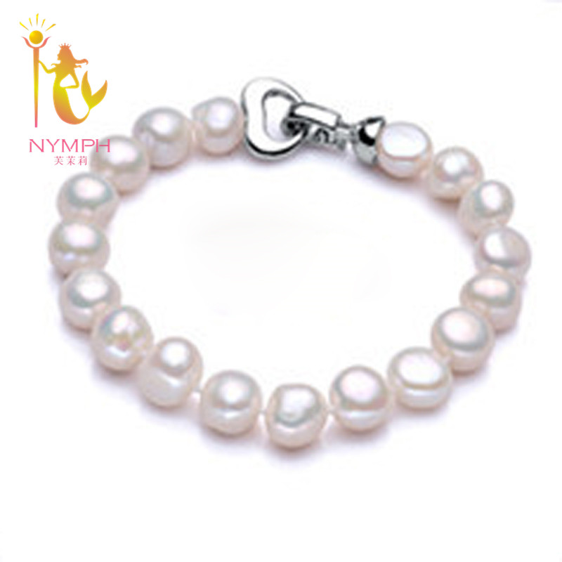 NYMPH pearl jewelry bracelets baroque pearl bracelets fine font b jewlery b font white freshwater pearl