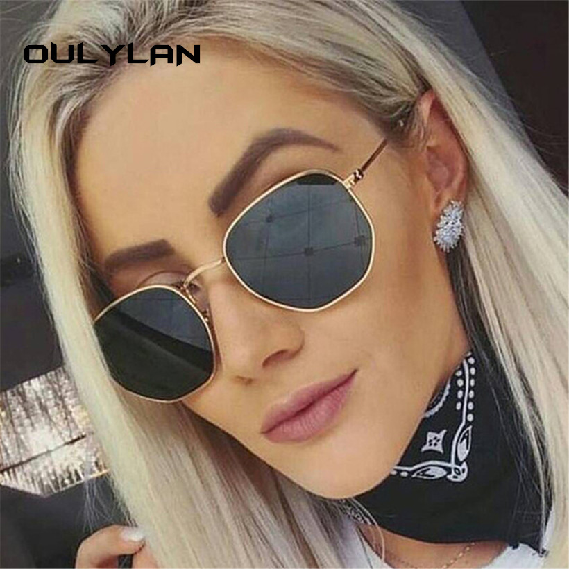Oulylan Fashion Sunglasses Women Brand Designer Small Frame Polygon Clear Lens Sun Glasses Men Vintage Hexagon Metal Frame