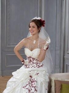 Image 4 - Robes de mariée gothique, Vintage, avec Corset, blanc rouge deux tons
