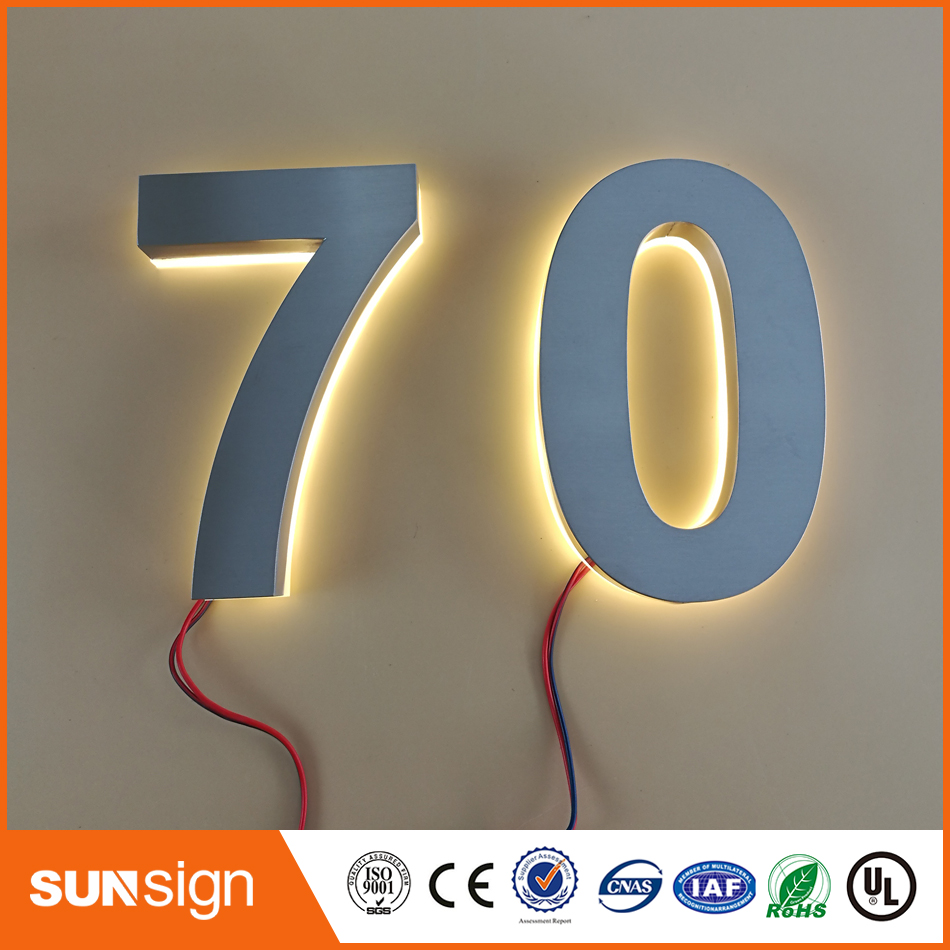 Custom Home decor stainless steel numbers warm white LED house number outdoorCustom Home decor stainless steel numbers warm white LED house number outdoor