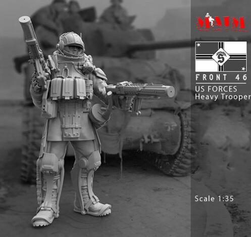 1/35 Us Pesante Trooper Anteriore Soldier Stand  Resin Model Miniature  Figure Unassembly Unpainted