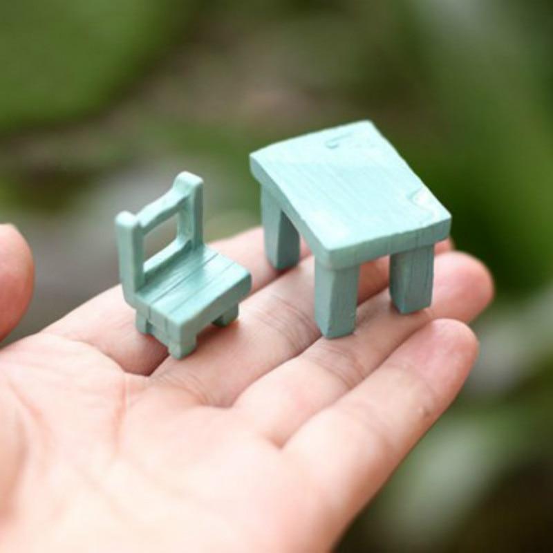 sale~2Pcs/desk and chair/doll house//miniatures/lovely cute/fairy garden gnome/moss terrarium decor/crafts/bonsai/ DIY/c046