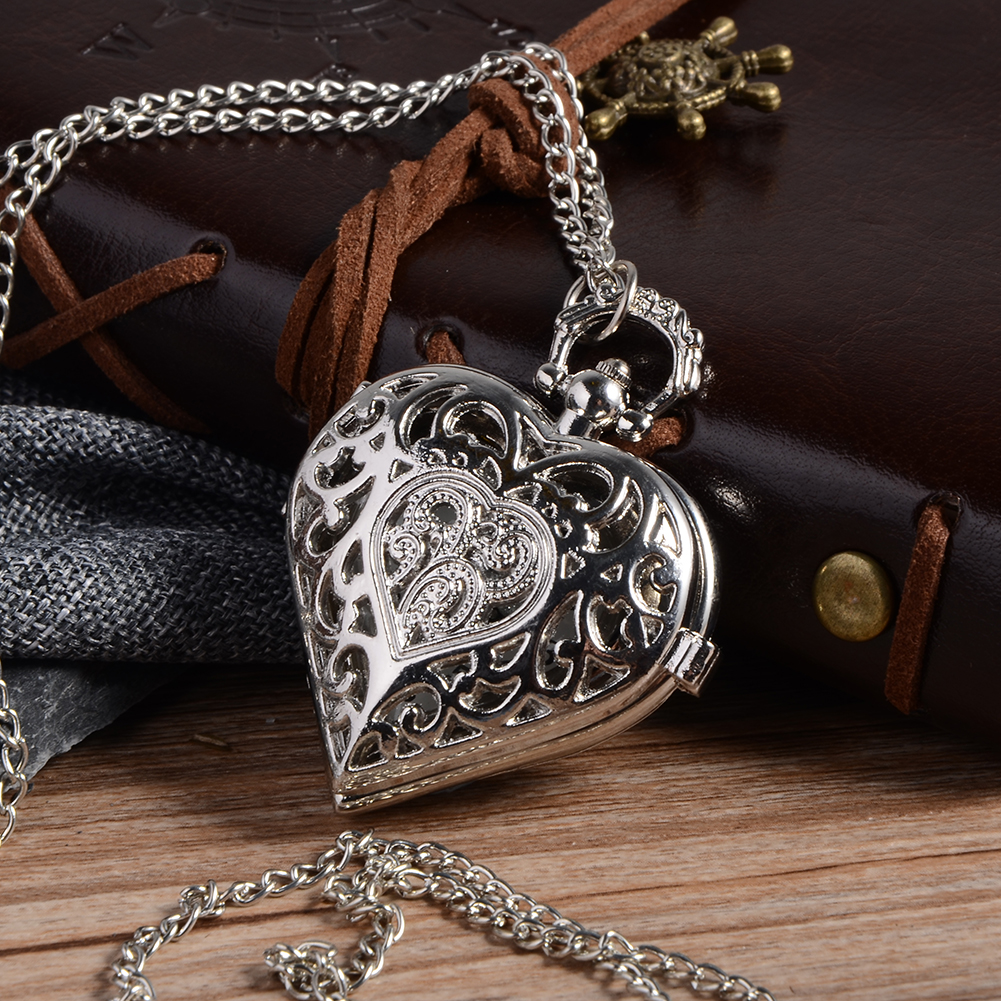 Cindiry Silve Hollow Quartz Heart-shaped Pocket Watch Necklace Pendant Chain Womens Gift For Valentine's Day HOT cindiry retro steampunk black hollow design quartz pocket watch necklace antique pendant watches for women vintage gift p10