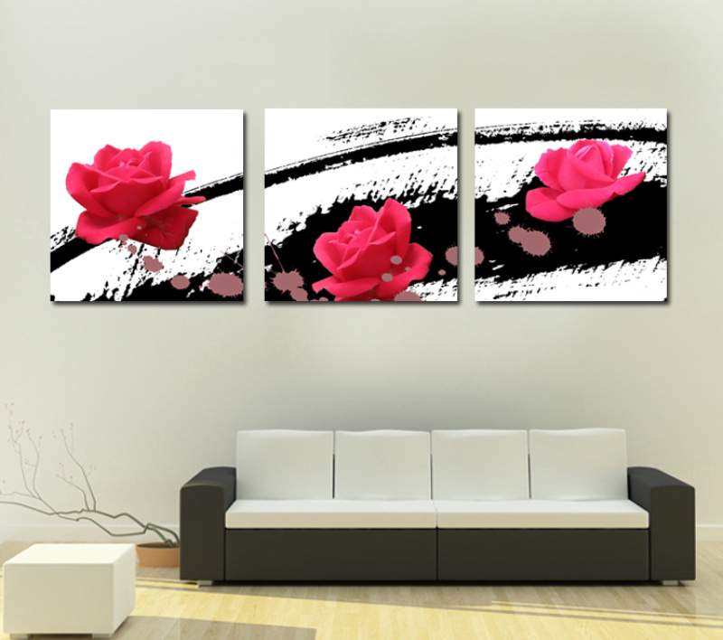 free ship 3 pcs loving heart rose wall art picture modern home decor living room canvas print. Black Bedroom Furniture Sets. Home Design Ideas