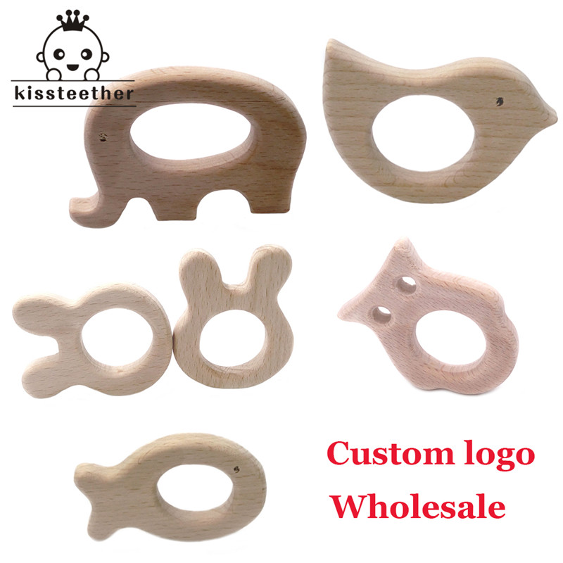 Custom Logo Wood Teether Elephant Teether Natrual Wooden Animal Shape Baby Product Wood Teething Accessories Baby Shower Gifts