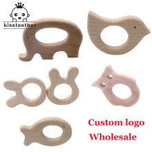 Custom Logo Wood Teether Elephant Teether Natrual Wooden Animal Shape Baby