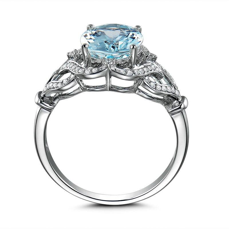 AINUOSHI pur 925 argent Sterling topaze bleue couronne anneau 3ct ovale coupe coeur bague de fiançailles Fine bijoux pour femme - 3