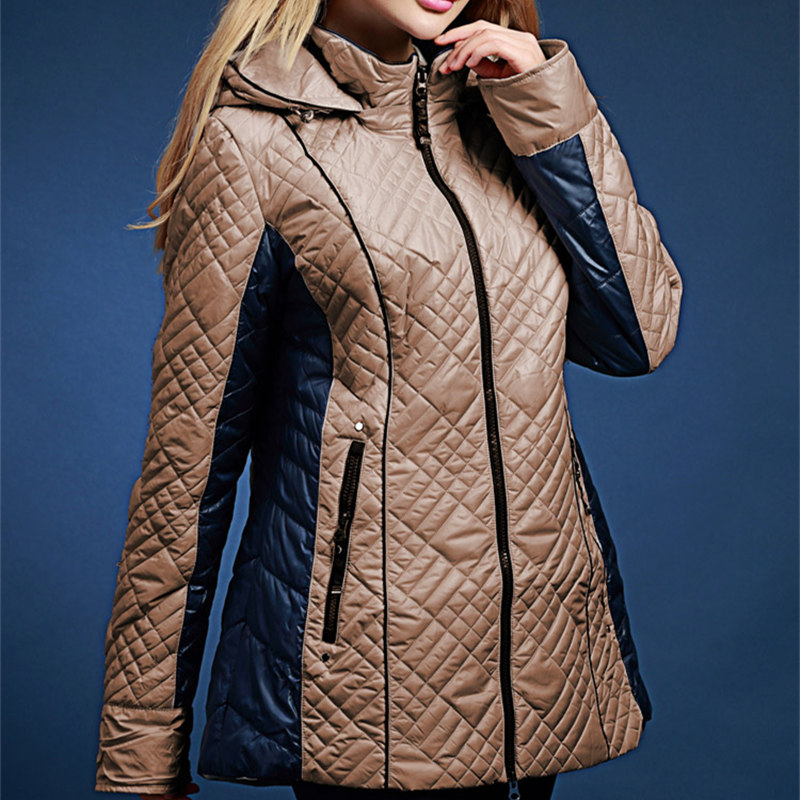 Plus size 2017 spring and autumn new arrival cotton padded jacket female medium long thin wadded