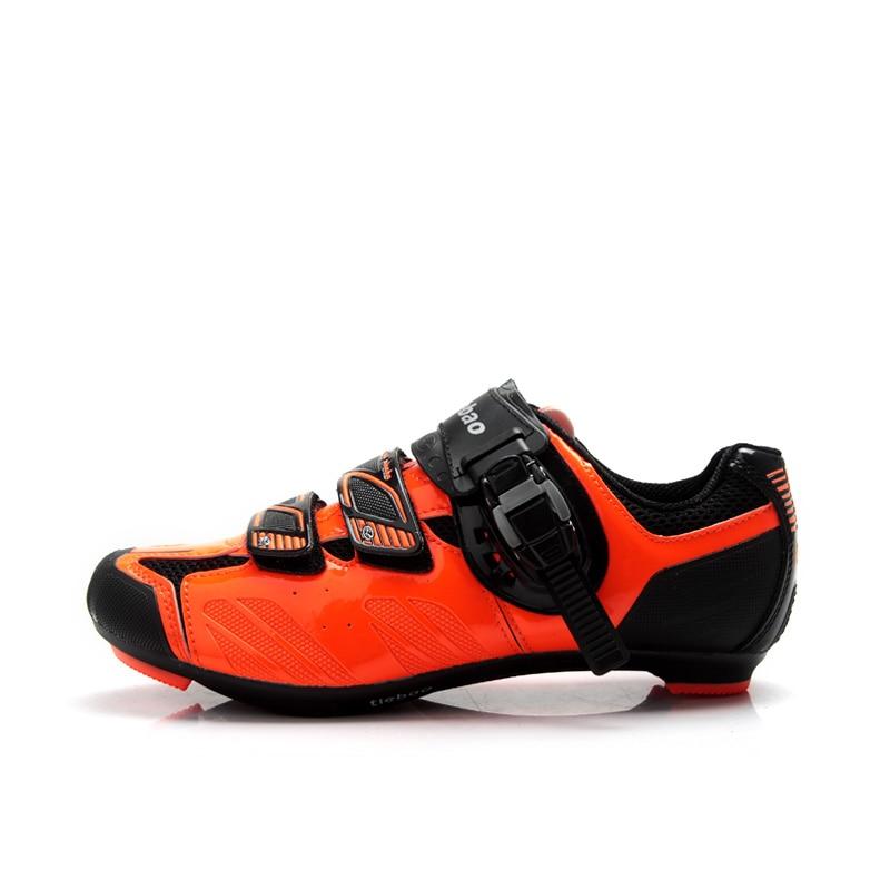 TIEBAO R1407 En Plein Air Vélo De Route Chaussures Noir et Fluorescence Orange Chaussures De Vélo Compatible SPD, SPD-SL, LOOK-KEO Vélo Chaussures