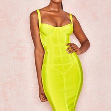 Высокое качество Зеленый Черный скольжение Элегантное вискозное Бандажное платье ночные Clu вечерние облегающее платье