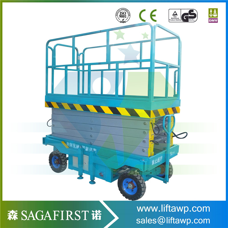 China 2018 SINOFIRST Wholesale Hydraulic Trailing Mobile Scissor Lift / Manual Scissor Work Platform for Hot Sales